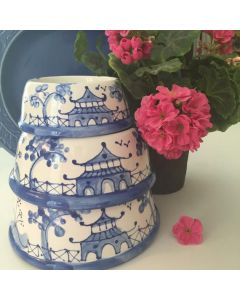 Blue Chinoiserie Dog Bowl - Can be Personalized