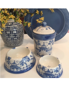 Hand Painted Blue Chinoiserie Dog Treat Canister