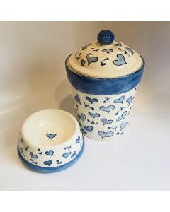 Hand Painted Blue Heart Dog Treat Canister