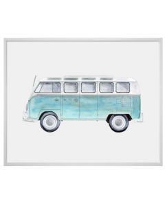 Blue VW Bus With Surfboard Canvas Children's Wall Art