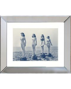 Blue and Sepia Beach Beauties I Framed Wall Art-Available in a Variety of Sizes