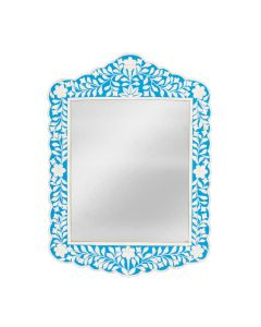 Blue and White Bone Inlay Mosaic Wall Mirror with Floral Pattern