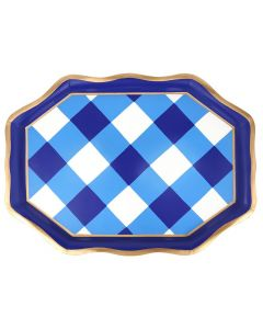 White  and Navy Buffalo Plaid Serving Tea Tray - LOW STOCK