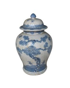 Blue And White Porcelain Ming Pine Tree Temple Jar