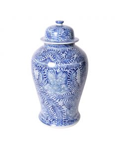 Blue and White Porcelain Blooming Flowers Temple Jar