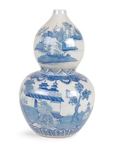 Blue and White Porcelain Canton Chinoiserie Double Gourd Vase