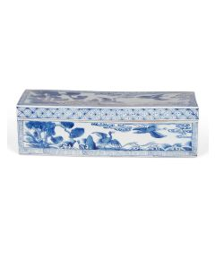 Blue and White Porcelain Decorative Box With Birds and Flowers - ON BACKORDER UNTIL DECEMBER 2021
