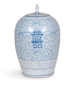 Blue and White Porcelain Double Happiness Melon Jar With Stem