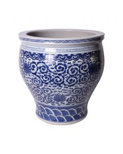 Blue and White Twisted Lotus Porcelain Planter - Available in 2 Sizes - ON BACKORDER UNTIL JULY 2021