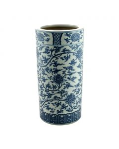 Blue and White Twisted Lotus Porcelain Umbrella Stand Vase