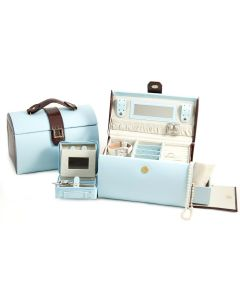 Blue & Brown Leather Jewelry Box with Removable Travel Tray, Mirror and Magnetic Clasp