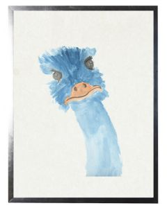 Blue Emu Watercolor Children's Wall Art With Size and Framing Options