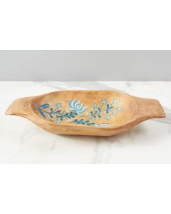 Blue Folklore Dough Bowl in Natural