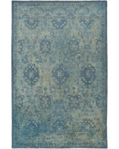Blue Green Antique Wash Wool Are Rug - Available in a Variety of Sizes