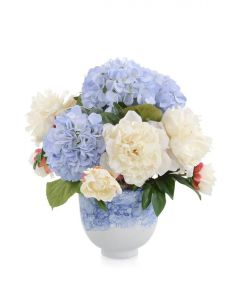 Blue Hydrangeas and Peonies in Blue and White Ceramic Vase - LOW STOCK
