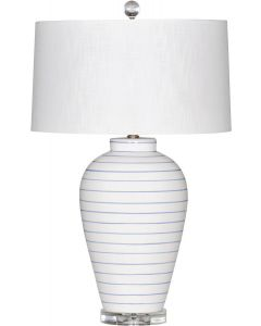 Blue Pinstripe Beach House Ceramic Table Lamp with White Linen Shade