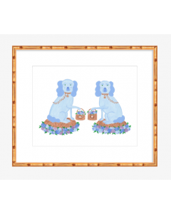 Blue Staffordshire Dogs With Baskets Art Print