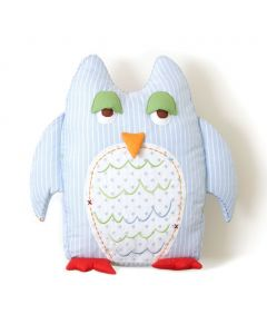 Blue Striped Owl Kids Pillow with Tooth-fairy Pocket