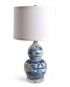 Blue & White Porcelain Chinoiserie Double Gourd Table Lamp with Drum Shade