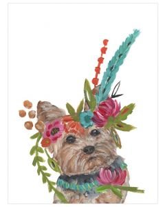 Free Spirit Yorkie With Floral Crown Canvas Wall Art for Kids