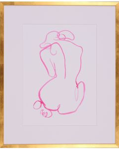 Vibrant Pink Bold Contour I Human Body Sketch Wall Art in Gold Frame