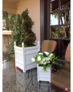 Set of Two Box d'Orangerie Indoor Tabletop Garden Planter in Wood with Finials – Available in Two Sizes and Can be Customized