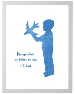 Boy With Airplane C.S. Lewis Quote Children's Wall Art With Size and Framing Options