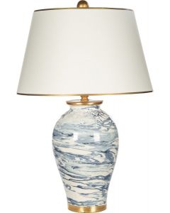 Blue and White Marbleized Swirl Table Lamp With Gold Accents