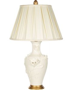 White Floral Textured Table Lamp With Pleated Shade