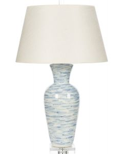 Wind Swept Blue Table Lamp With Shade