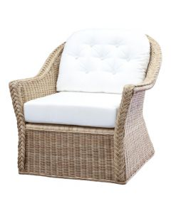 Braided Wicker Chatham Upholstered Lounge Chair - Available in Variety of Finishes
