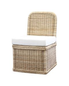 Braided Wicker Chatham Upholstered Slipper Chair - Available in Variety of Finishes