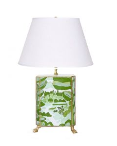 Bristow in Green Footed Lamp with Gold Trim