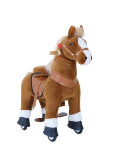Brown and White Small Horse Ride On Pony Toy For Kids