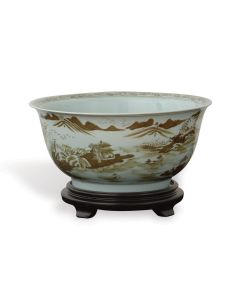Brown on White Porcelain Bowl with Asian Pastoral Scene