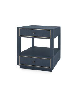 Bungalow 5 Carmen 2-Drawer Side Table in Navy Blue Lacquered Linen