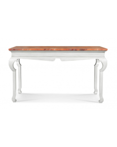 Bunny Williams Ambrose Console in White with Faux Marble Top