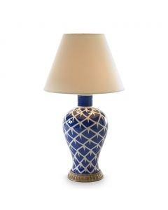 Bunny Williams Chicken Feather Ceramic Lamp in Blue & White