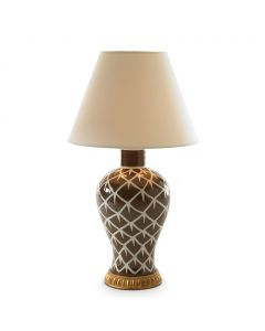 Bunny Williams Chicken Feather Ceramic Lamp in Brown & White
