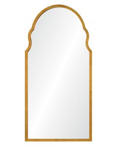 Bunny Williams Distressed Gold Leaf Long Arched Wall Mirror