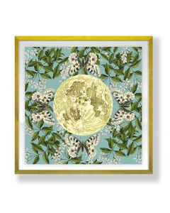 Butterfly Magic Garden Floral Blue, Green, and Yellow Square Framed Wall Art