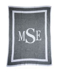 Classic Monogram Personalized Blanket Available in Variety of Colors