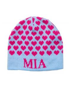 Regular Or Earflap Heavenly Hearts Personalized Hat Available in Variety of Colors