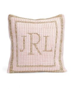 Metallic Classic Double Border Personalized Pillow in Variety of Colors