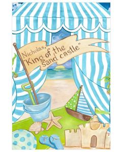 Day At The Beach Blue and White Personalized Canvas Wall Art for Kids