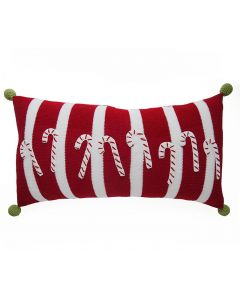 Candy Cane Stripes Handmade Lumbar Holiday Pillow in Red & White