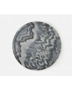 Small Carved Gray Marble Lazy Susan