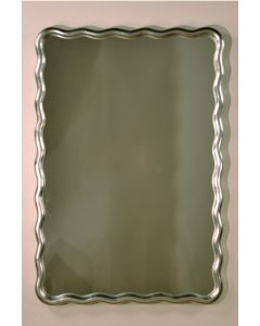 Carvers Guild Scalloped Rectangle Wall Mirror in Sterling Silver Leaf