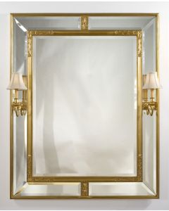 Carvers' Guild American Cassetta Mirror with Sconces in Antique Gold Leaf Finish