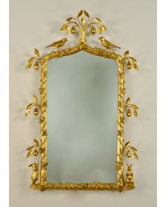 Carvers Guild In a Pear Tree Mirror in Antique Gold Leaf Finish